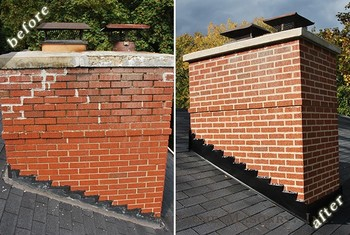 Before and After Brick Chimney Repairs