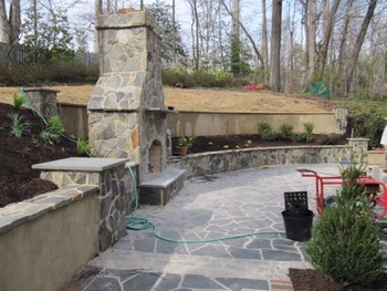 Stone Fireplace and Patio